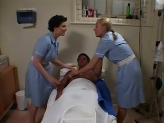 Two British Nurses Soap Up And Screw A Lucky Guy