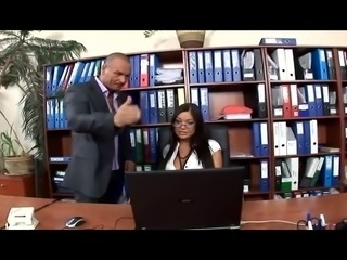 Horny secretary bumped inside thigh highs and high heels