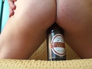 crossdresser beer bottle anal insertion