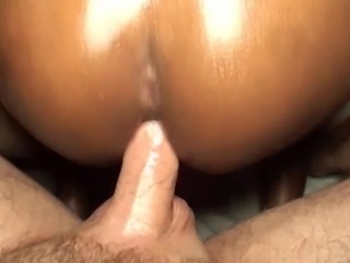 Ebony shemale jerking and getting anal sex