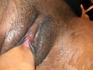 Amateur ebony babe takes a POV fist in her pink honey hole
