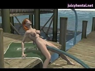 Animated babe gets penetrated by tentacle