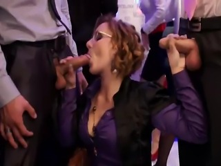 A group of European pornstars crashing at office party