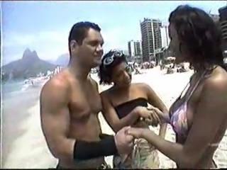 Hot beach babe pick up anal threesome