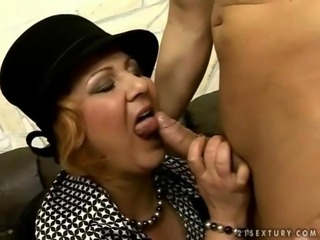 Horny fat grandma fucking young man