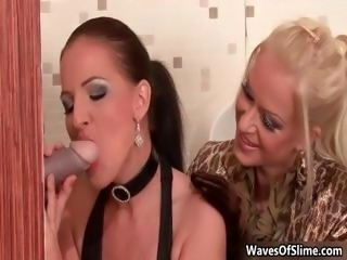Two horny babes sucking big dick trough part5