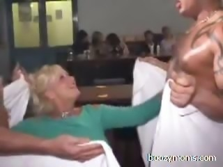 Horny women flashing and tit fucking
