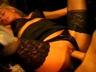 Blonde hair hot young MILF in black topsis getting banged by massive cocks,...