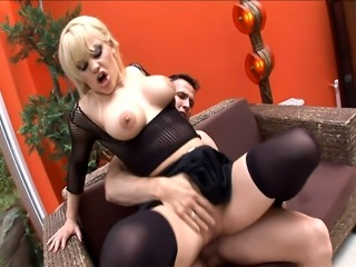 Blonde milf with bigtits fucking wearing black thigh high stockings