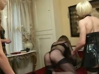 Crossdressers hot threesome