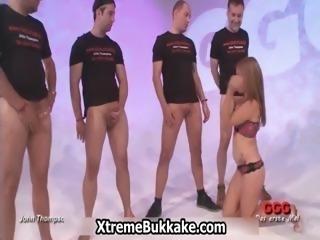Slutty blonde sucking of 20 big dicks part5