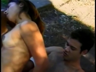 Stud has threesome with beautiful latin women in woods