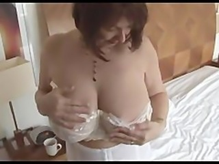 Busty hairy mature strips