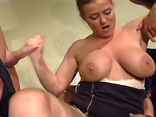 Witness one hell of a ride for this big titted babe as she founds three very...