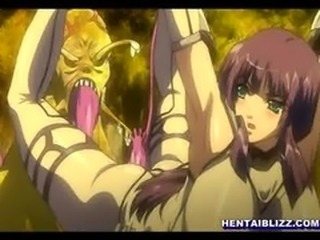 Trapped hentai chick with huge boobs gets tentacled fucked