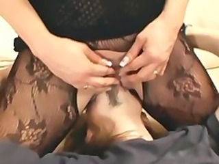 Facesitting and smothering in a crotchless body stocking