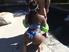 Curvy ebony with big saggy tits gets nailed by the pool