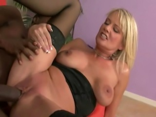 Blonde having interracial sex and giving blowjob