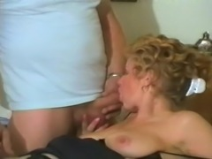 Naughty mature blonde begging her man to finger fuck her hairy cunt and cum...