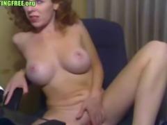 Sexy busty amateur redhead rubbing pussy on webcam