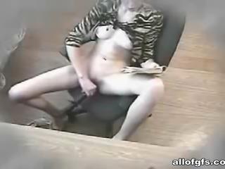 Young GF masturbates with big dildo toy