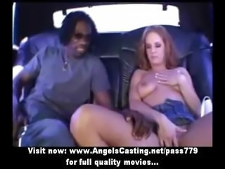 Naughty blonde toying pussy and doing blowjob for afro guy in the car