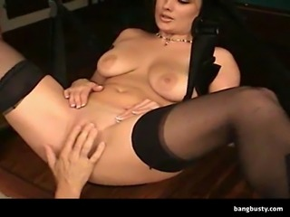 Naughty big titted amateur how sits in a swing gets fucked hard
