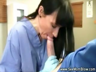 Horny nurse milf sucking patient cock and really loves it