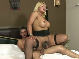 Blonde shemale Shirley fucked