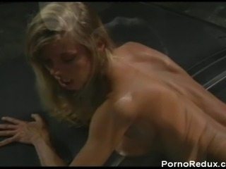 Sexy blonde Danielle Rogers gets fucked on a car
