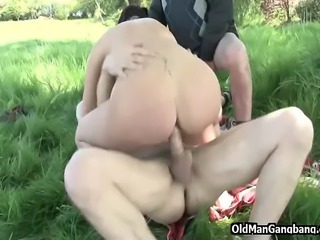 Jerking off together with his younger neighbor while spying on two hotties...
