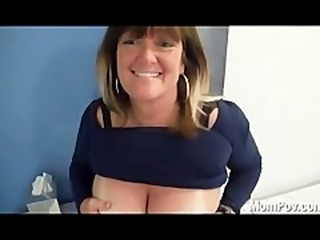Huge natural tits MILF behind the scenes BJ