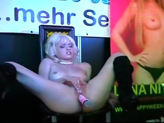 Cute German pornstar Mia Magma strips an makes a dildoshow in front of...