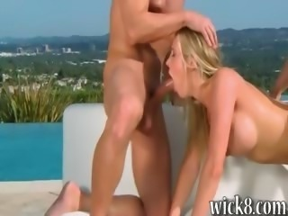 Gorgeous busty babe Samantha Saint horny threesome outdoor