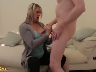 MILF wanks and sucks naked CFNM guy full movie