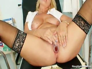 Big natural boobs elder cougar works as a head nurse in a hospital. When...