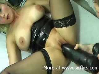 Busty blond amateur MILF needs a gigantic black dildo to stretch her...