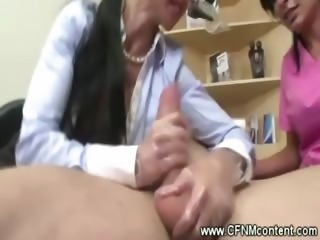 Dentist and nurse pull off his hard cock