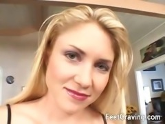 Super horny guy fucking a hot blonde while he licking her sexy foot