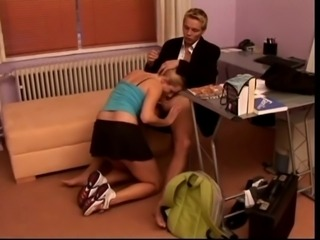 Pretty blonde co-ed takes hard dick, hot cum in the office