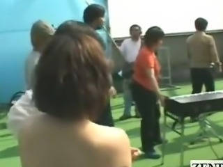 Subtitled group of nudist Japanese musicians rehearsal