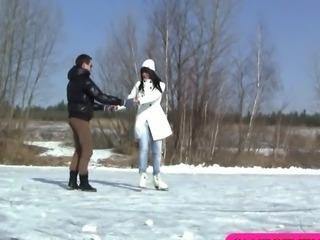 Hot teenage fucking after ice skating