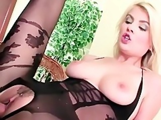 Sex in a sheer lacey crotchless bodystocking