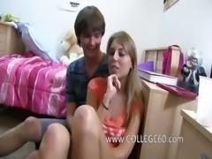 Two blonde girls enjoying sex on bed