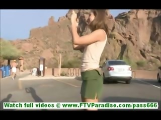 Riley naughty little brunette flashing tits and ass and flashing and stroking...