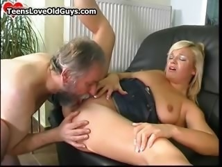 Horny old man fucking and licking