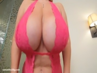 The Queen of BBWS Samantha 38G Jiggles Tits in Pink free