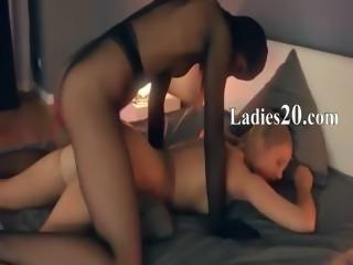Crazy lesbs in nylon suits having sex