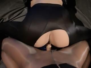 Blindfolded model gets fuck by strap on