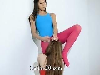Hairy lesbians in nylon pants havingsex